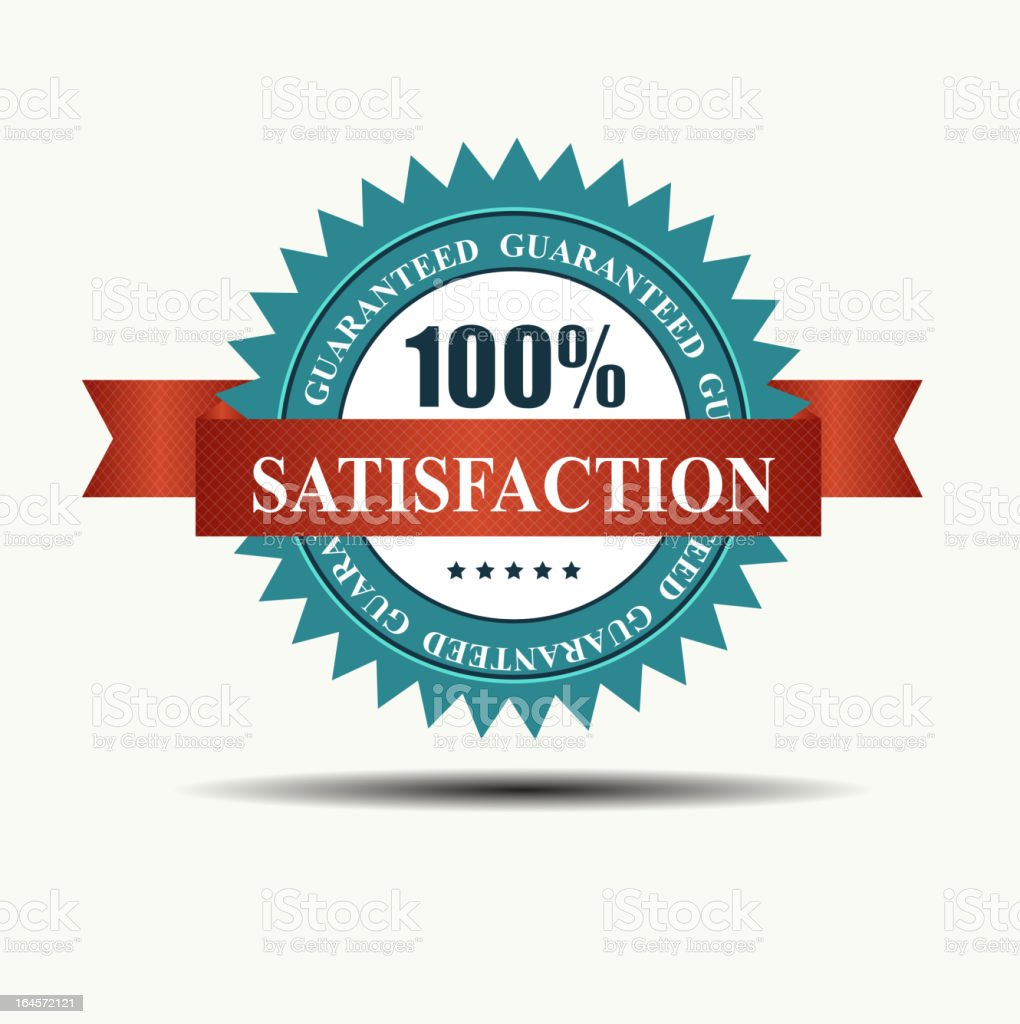 Vector 100% satisfaction guaranteed retro  label with red ribbon. vector art illustration