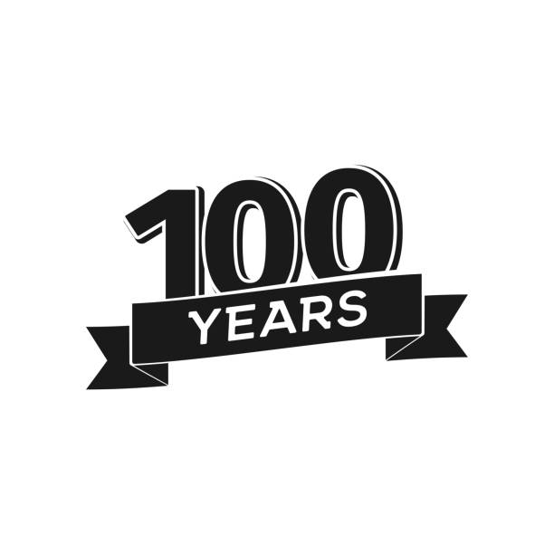 Vector 100 years anniversary icon. Isolated black sign 100th jubilee on white background Vector 100 years anniversary icon Isolated black sign 100th jubilee on white background. 100th anniversary stock illustrations