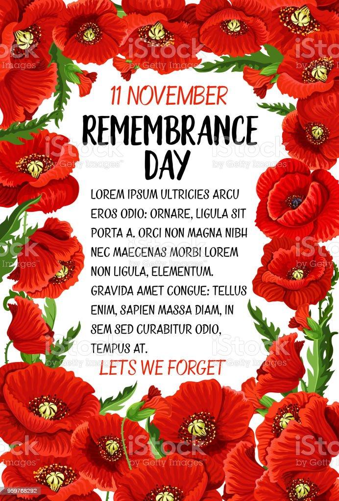 Vector 11 November Remembrance Day Poppy Card Stock ...