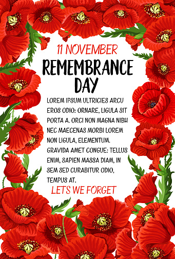 Vector 11 November Remembrance Day Poppy Card Stock