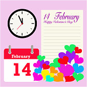 Vector 14 February Valentine's Day calendar with clock shown almost midnight time and colorful romantic love letter with colorful hearts symbol of love  on Valentine's Day.