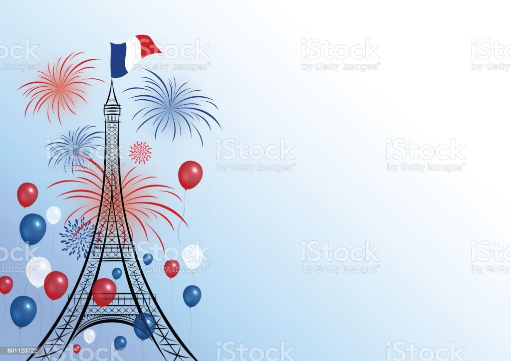 Vector 14 july bastille day design of eiffel with firework and balloon vector art illustration