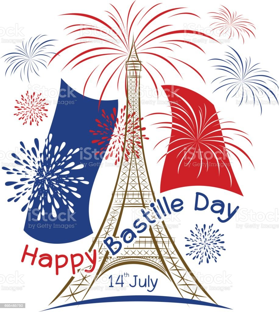 Vector fête 14 juillet paris design avec drapeau france et feu d'artifice sur fond blanc - Illustration vectorielle