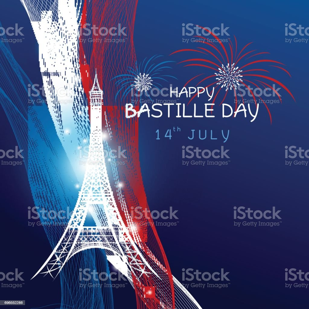 Vector 14 july bastille day paris design with firework of eiffel tower and france flag on blue background vector art illustration