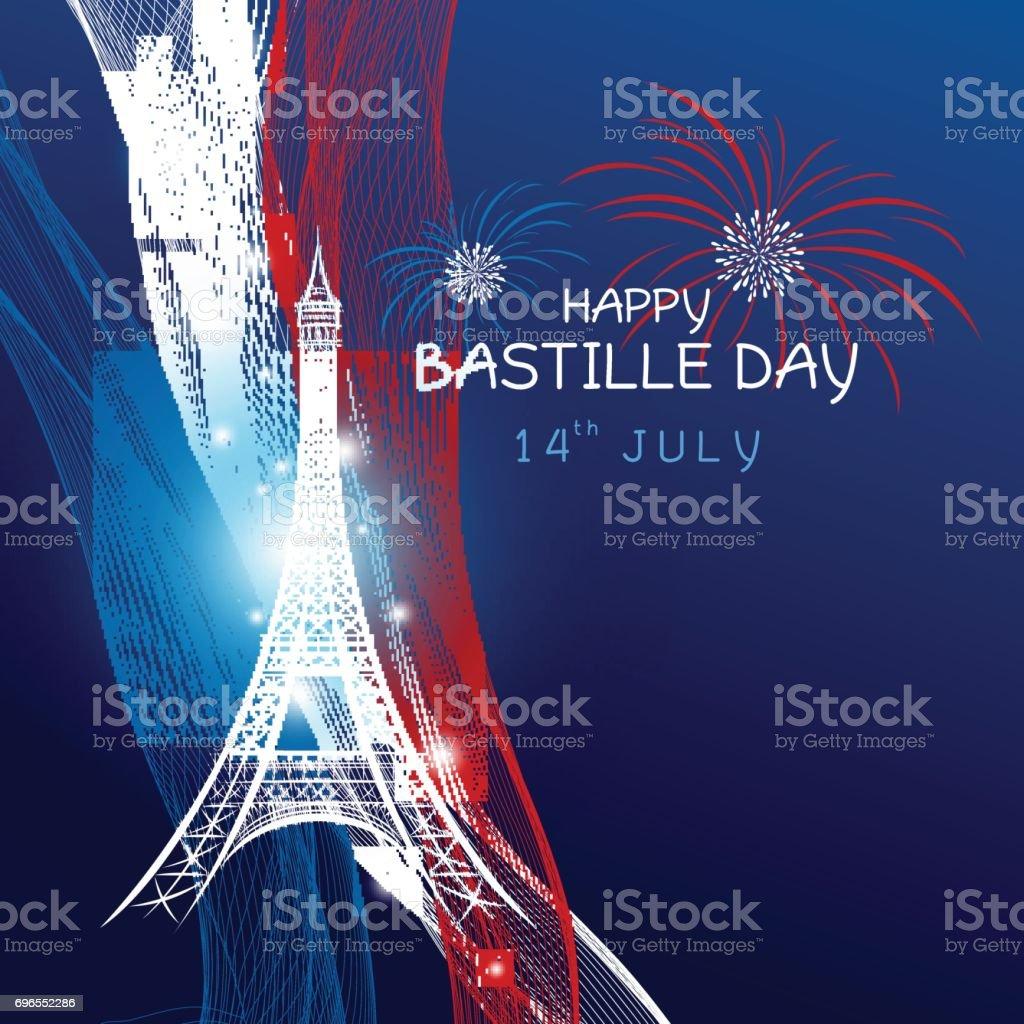 Vector fête 14 juillet avec feu d'artifice de la tour eiffel et le drapeau de la france sur fond bleu, paris design - Illustration vectorielle