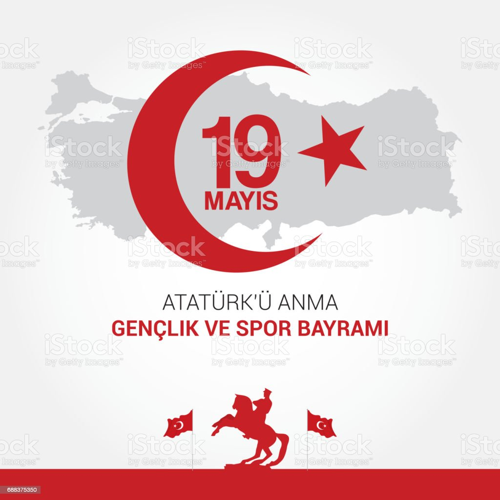 vector 19 mayis Ataturk'u Anma, Genclik ve Spor Bayram?z, translation: 19 may Commemoration of Ataturk, Youth and Sports Day. vector art illustration