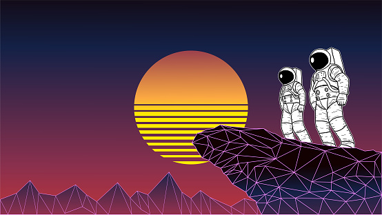 Vector 1980s Style Astronaut Team in Vaporwave Background Stock Illustration