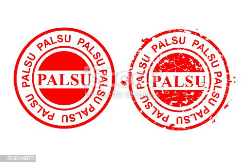 istock Vector 2 Style Red Circle Rubber Stamp, Palsu or fake in indonesia language 1309046972