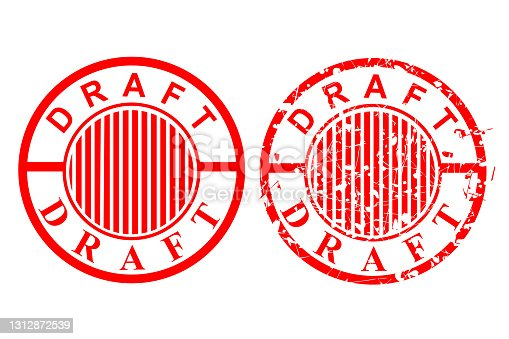 istock Vector 2 Style Red Scratch Circle Rubber stamp, draft,  at Isolated on White 1312872539