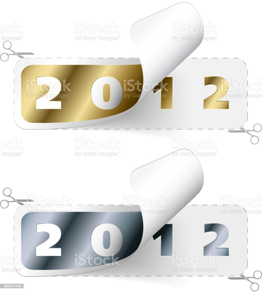 Vector 2011 / 2012 new year stickers vector art illustration