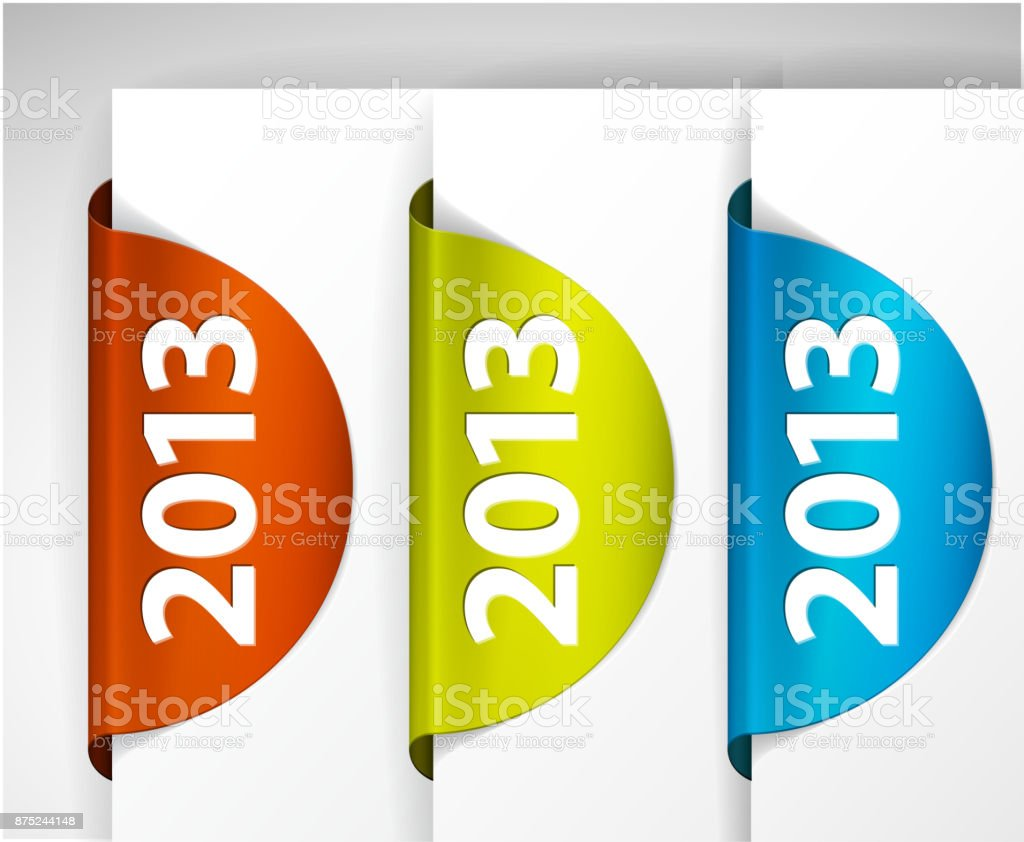Vector 2013 round Labels / Stickers on the edge of the (web) page vector art illustration