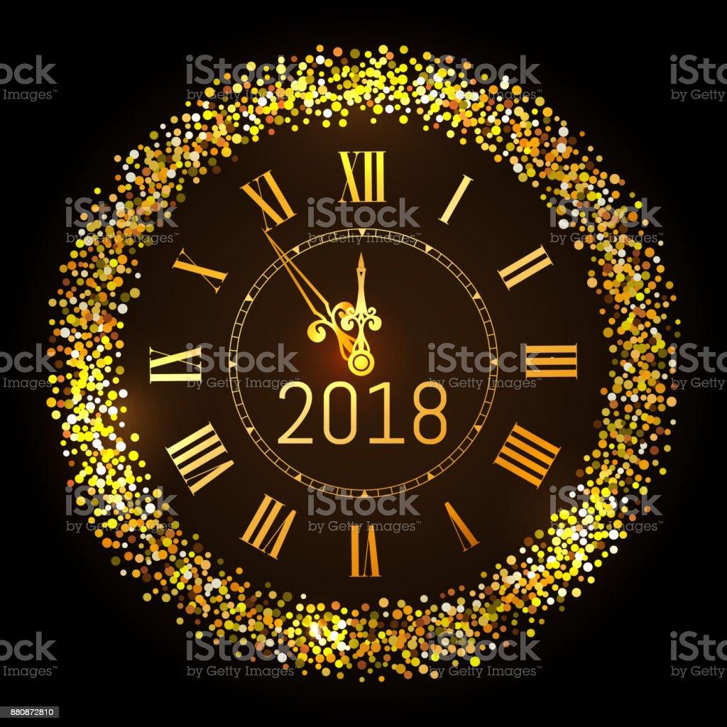 Ilustración de 2017 Vector Brillante Feliz Navidad Y Feliz Año Nuevo 2017  Oro Reloj Con Marco De Brillo Medianoche Del Reloj De Oro Vintage Elegante  Lujo Año Nuevo Ilustración De Vector Eps