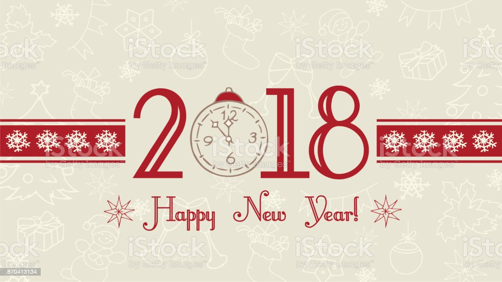 Vector 2018 Happy New Year Background Merry Christmas And Happy ...