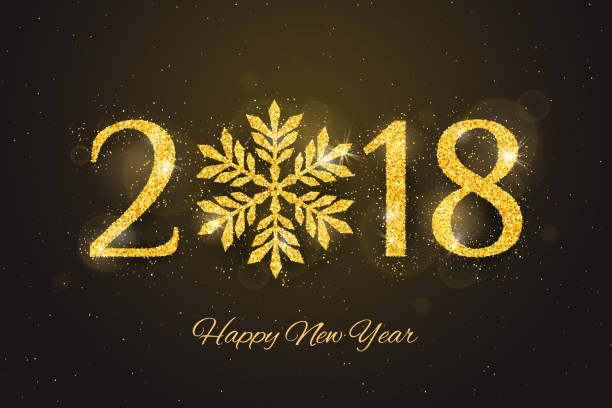 vector 2018 happy new year greeting card vector art illustration
