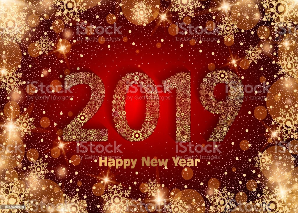 Happy New Year 2019. Background with golden sparkling texture...