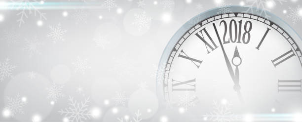 Vector 2018 Happy New Year with retro clock on gray snowflakes background Vector 2018 Happy New Year with retro clock on gray snowflakes background, for your copy space. nu stock illustrations