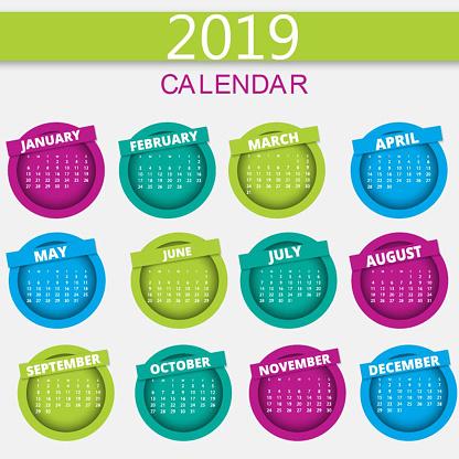 Vector 2019 Calendar