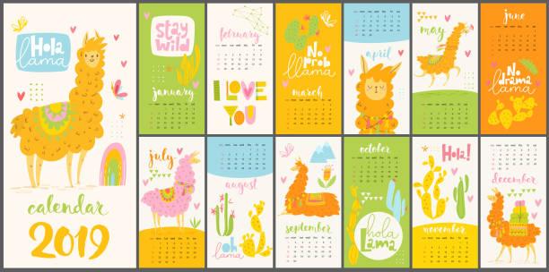 ilustraciones, imágenes clip art, dibujos animados e iconos de stock de calendario de vector 2019 con lamas linda de la historieta y alpacas. - calendario de naturaleza