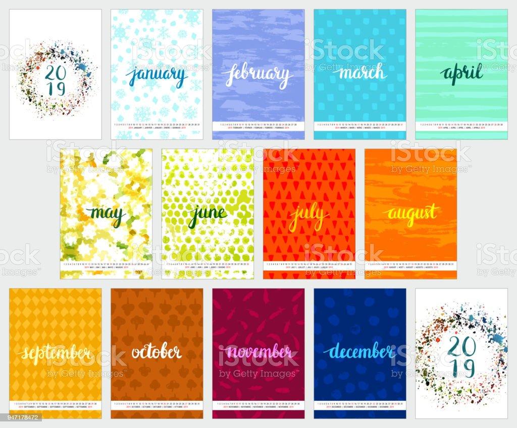Calendario de vector 2019 con texturas de acuarela y Letras - ilustración de arte vectorial