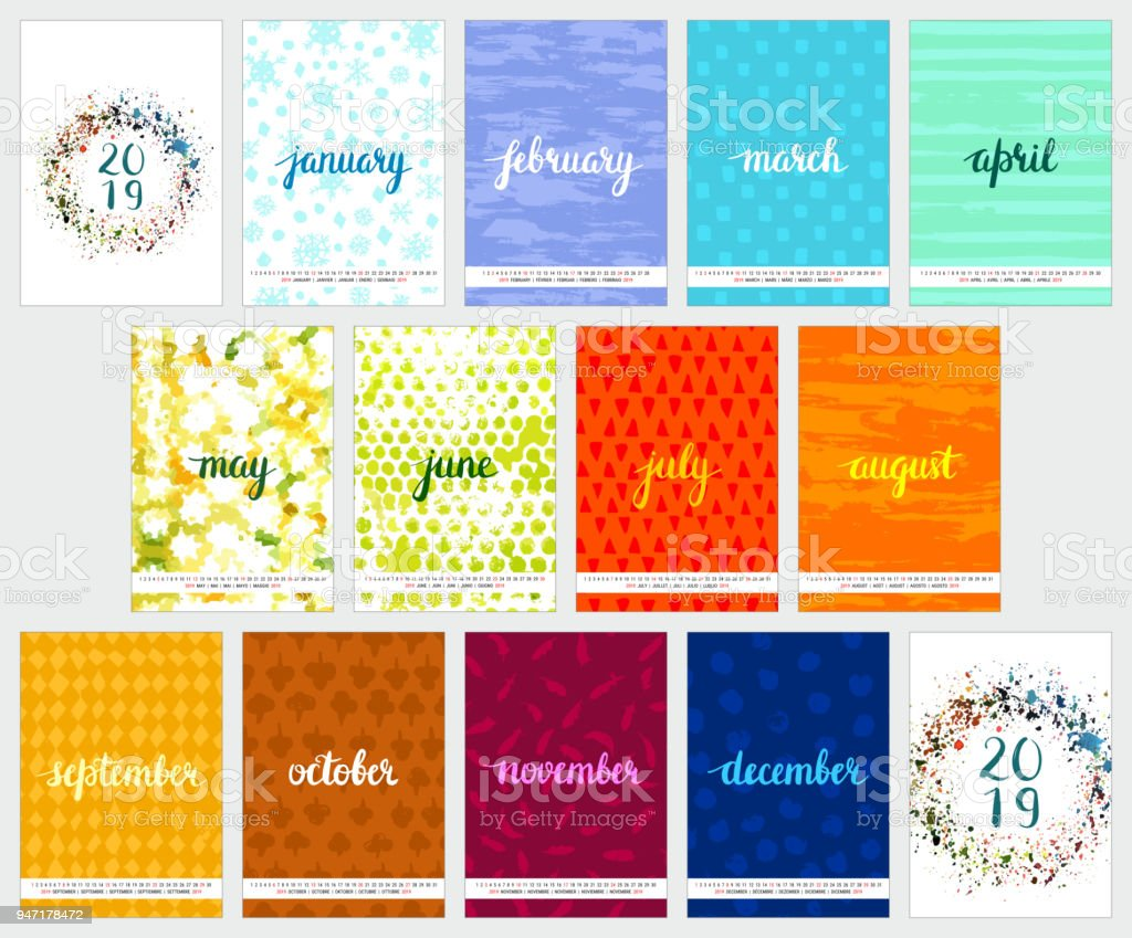 Vektor-2019 Kalender mit Aquarell Texturen und Schriftzug – Vektorgrafik