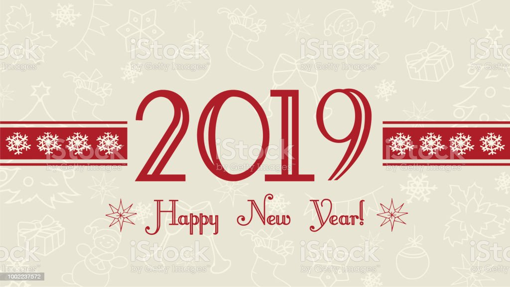 vector 2019 happy new year background web banner text label with snowflakes royalty