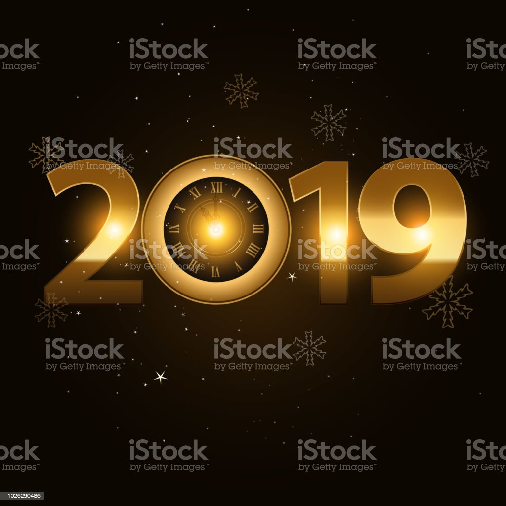 vector 2019 happy new year background with gold clock royalty free vector 2019 happy new