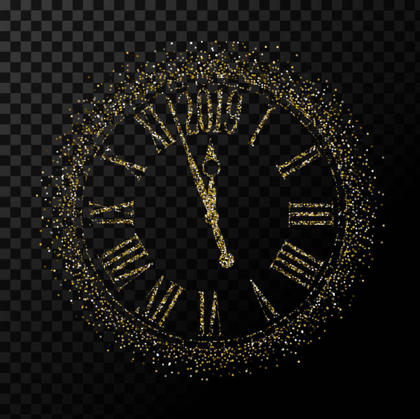 Vector 2019 Happy New Year gold glitter classic clock on transparent background Vector 2019 Happy New Year gold glitter classic clock on transparent background,illustration EPS10. nu stock illustrations