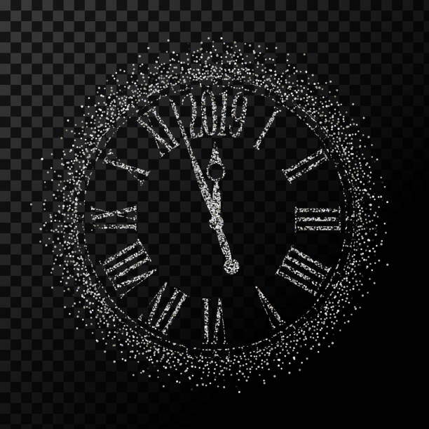 Vector 2019 Happy New Year silver glitter classic clock on transparent background Vector 2019 Happy New Year silver glitter classic clock on transparent background,illustration EPS10. nu stock illustrations