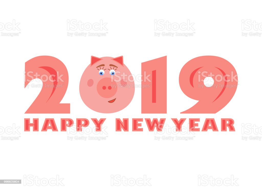 Vector 2019 Happy New Year Text With Funny Pig Chinese Symbol Of The
