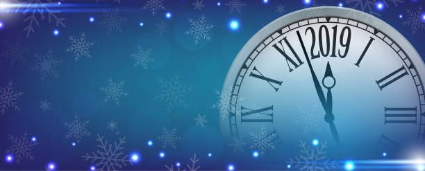 Vector 2019 Happy New Year with retro clock on snowflakes blue background Vector 2019 Happy New Year with retro clock on snowflakes blue background, for your copy space. nu stock illustrations