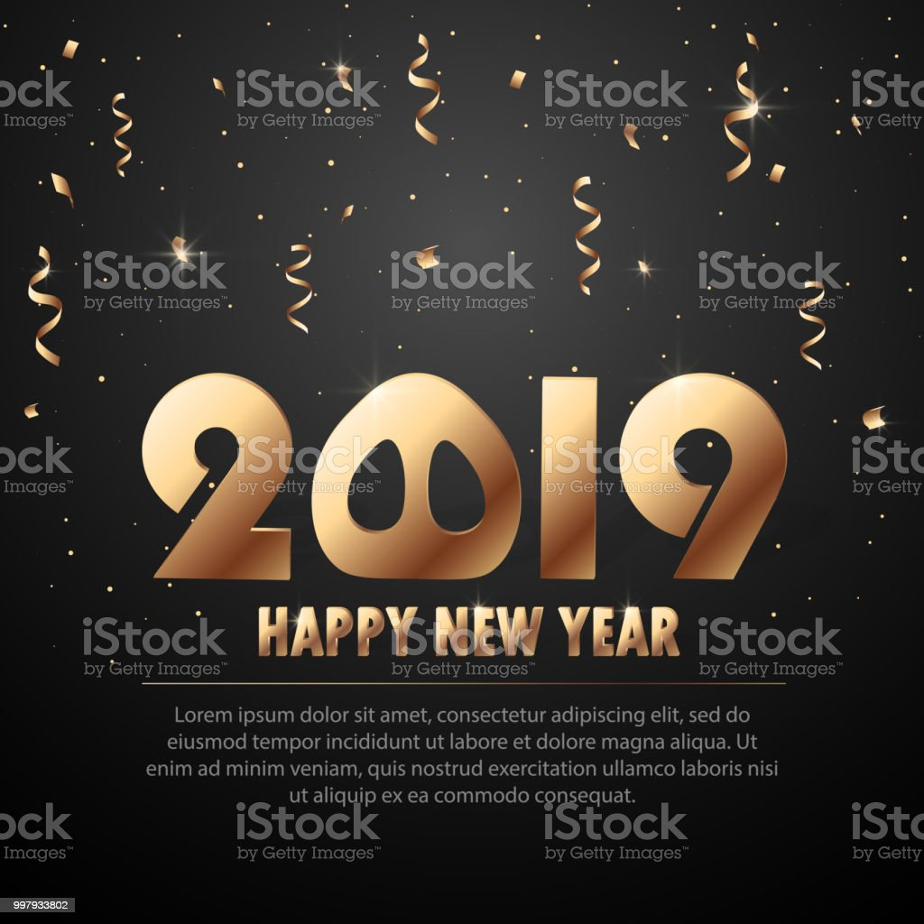 Vector 2019 New Year Black Background With Gold Glitter Confetti