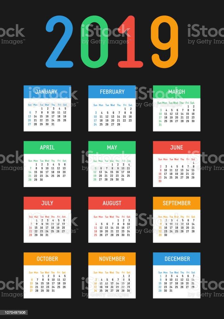 Vector 2019 new year calendar. Bright contrast design. The week starts on Sunday. векторная иллюстрация