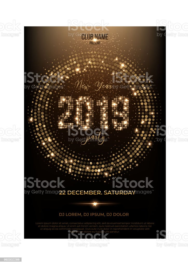 vector 2019 new year party flyer template glitter words spot lights and glitter on