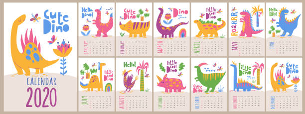 vector 2020 calendar template with dinosaurs in kids cartoon style - animals calendar stock illustrations