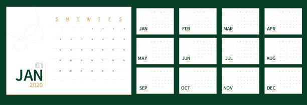 ilustraciones, imágenes clip art, dibujos animados e iconos de stock de vector 2020 plantilla de planificador de calendario de año nuevo en la tabla mínima estilo simple color verde y oro, ecología planificador de eventos de vacaciones, semana comienza el domingo.12 meses diseño anual calender.timetable para diario. - calendario de naturaleza