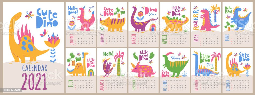 Vector 2021 Calendar Template With Dinosaurs In Kids ...