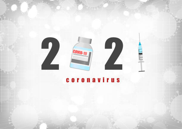 Vector : 2021 Coronavirus and syringe on gray background vector art illustration