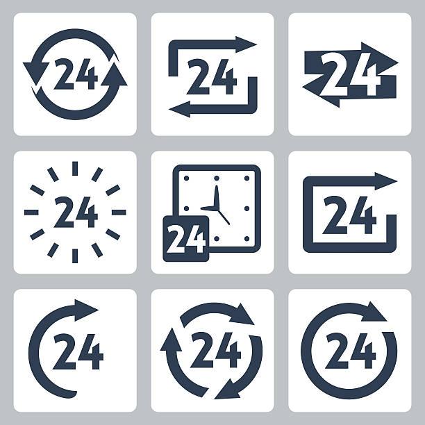 stockillustraties, clipart, cartoons en iconen met vector '24 hours' icons set - gemak