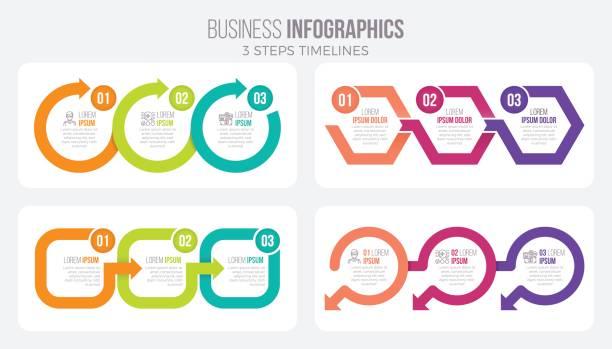 vektor-3 schritte timeline infografik vorlage mit pfeilen - treppe stock-grafiken, -clipart, -cartoons und -symbole