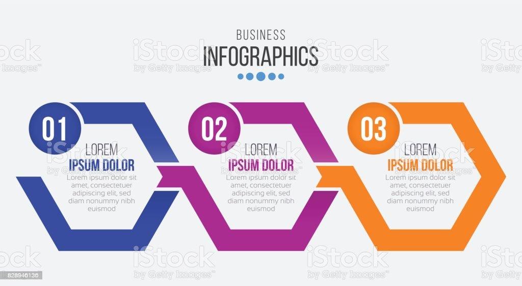 Ilustración de Plantilla De Infografía Vector 3 Pasos Línea De ...