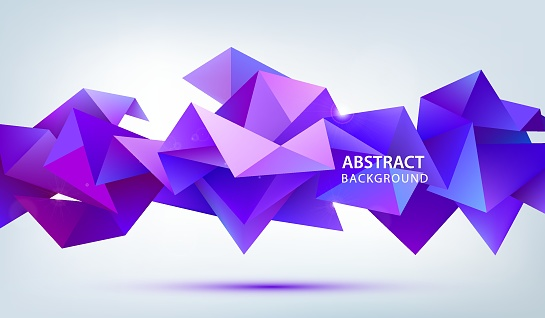 Vector 3d abstract geometric facet shape. Use for banners, web, brochure, ad, poster, etc. Low poly