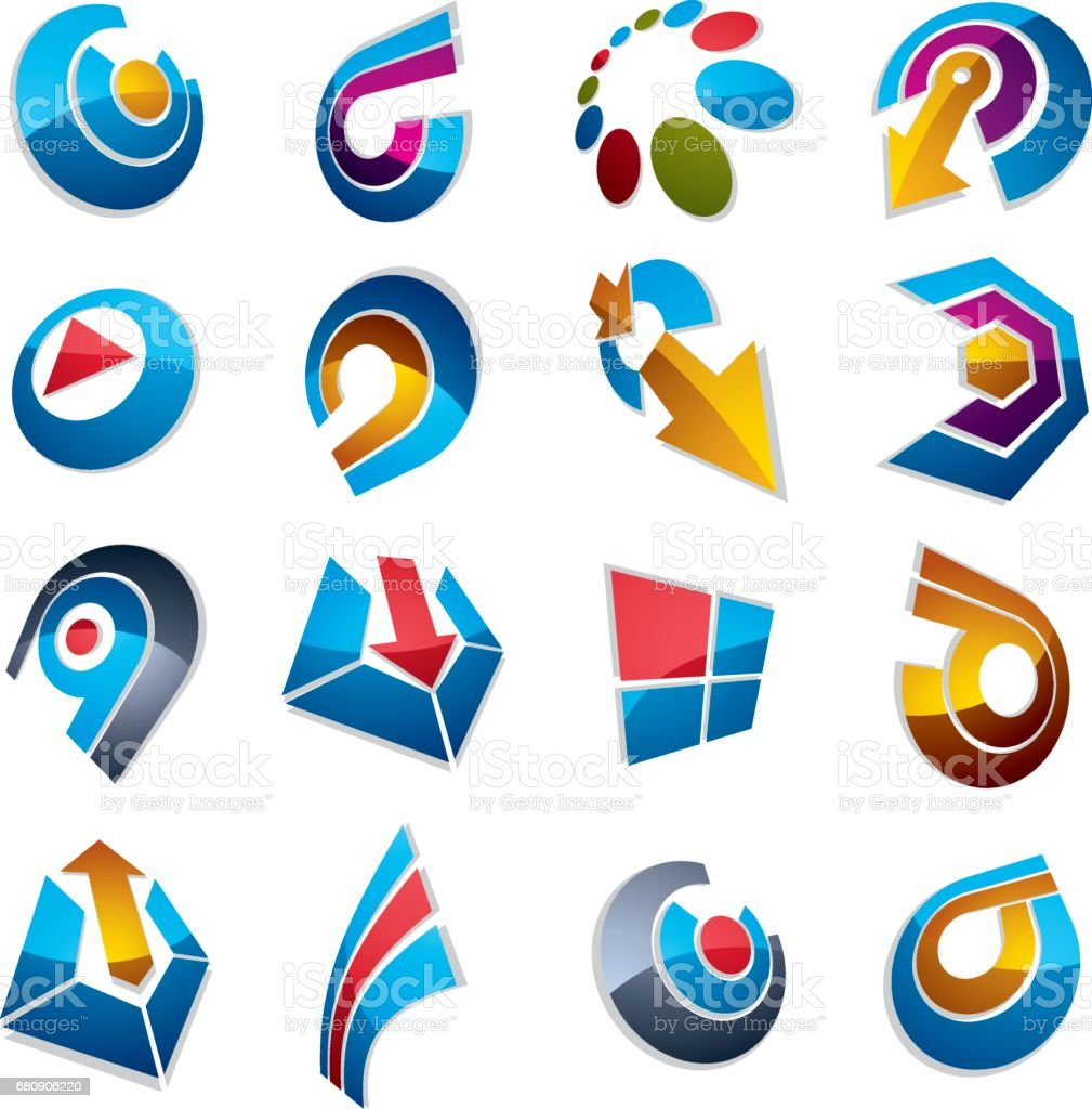 Vector 3d abstract icons set, simple corporate graphic design elements. Colorful marketing symbols set isolated on white background. royalty-free vector 3d abstract icons set simple corporate graphic design elements colorful marketing symbols set isolated on white background stock vector art & more images of abstract