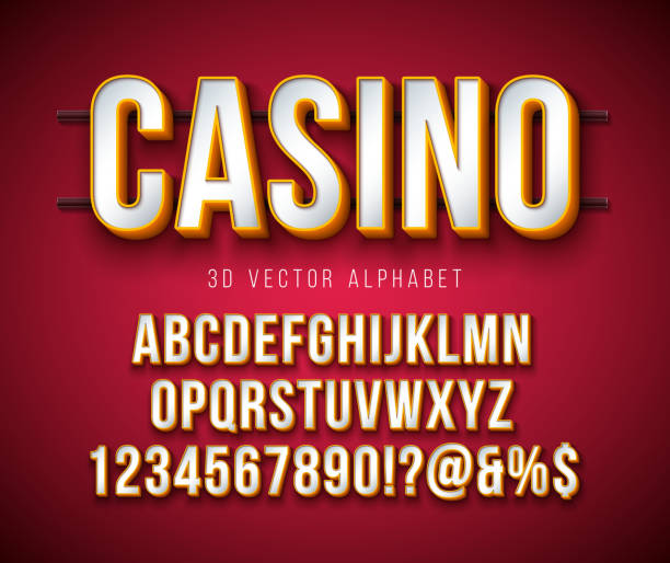 Vector 3d Alphabet Font with Frame and Shadow on Red Background. Modern Typeface Design Collection with ABC, Number and Special Characters for Banner, Poster or Invitation. Layered Separated Characters. Vector 3d Alphabet Font with Frame and Shadow on Red Background. Modern Typeface Design Collection with ABC, Number and Special Characters for Banner, Poster or Invitation. Layered Separated Characters casino stock illustrations