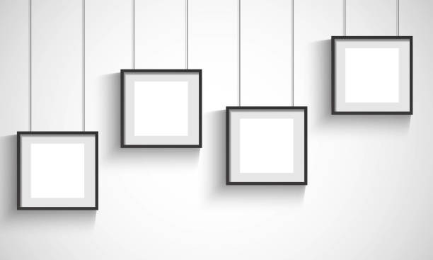 vector 3d blank black hanging frames stock vector art more images