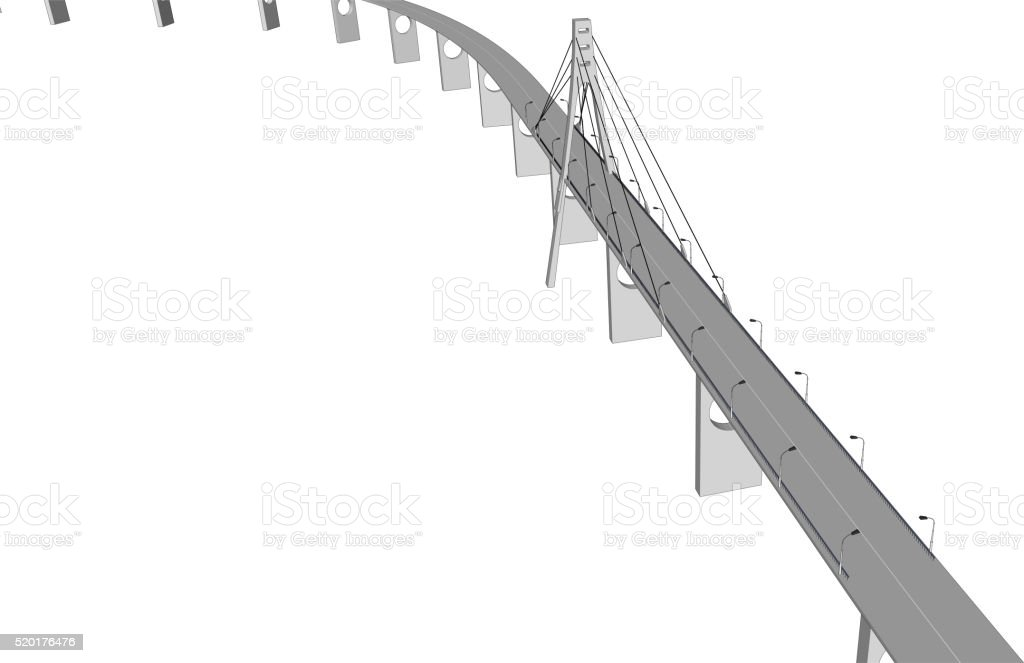 Vector 3D bridge City buildings view vector art illustration