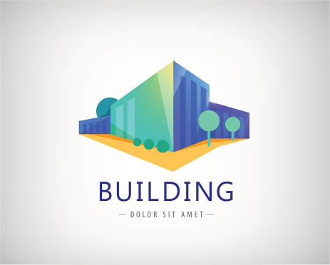 Vetores de Vector 3d Building Logo Business Office Icon e