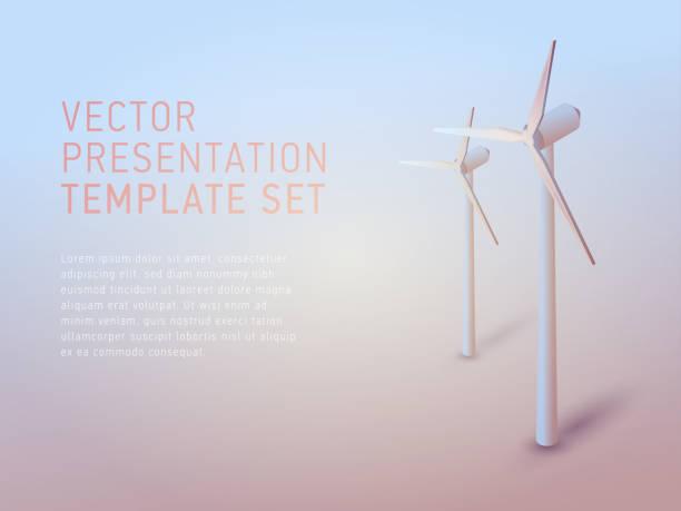 stockillustraties, clipart, cartoons en iconen met vector 3d business thema presentatiesjabloon instellen - windmolen