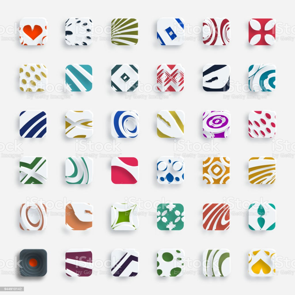 Vector 3D colorful square pattern buttons collection