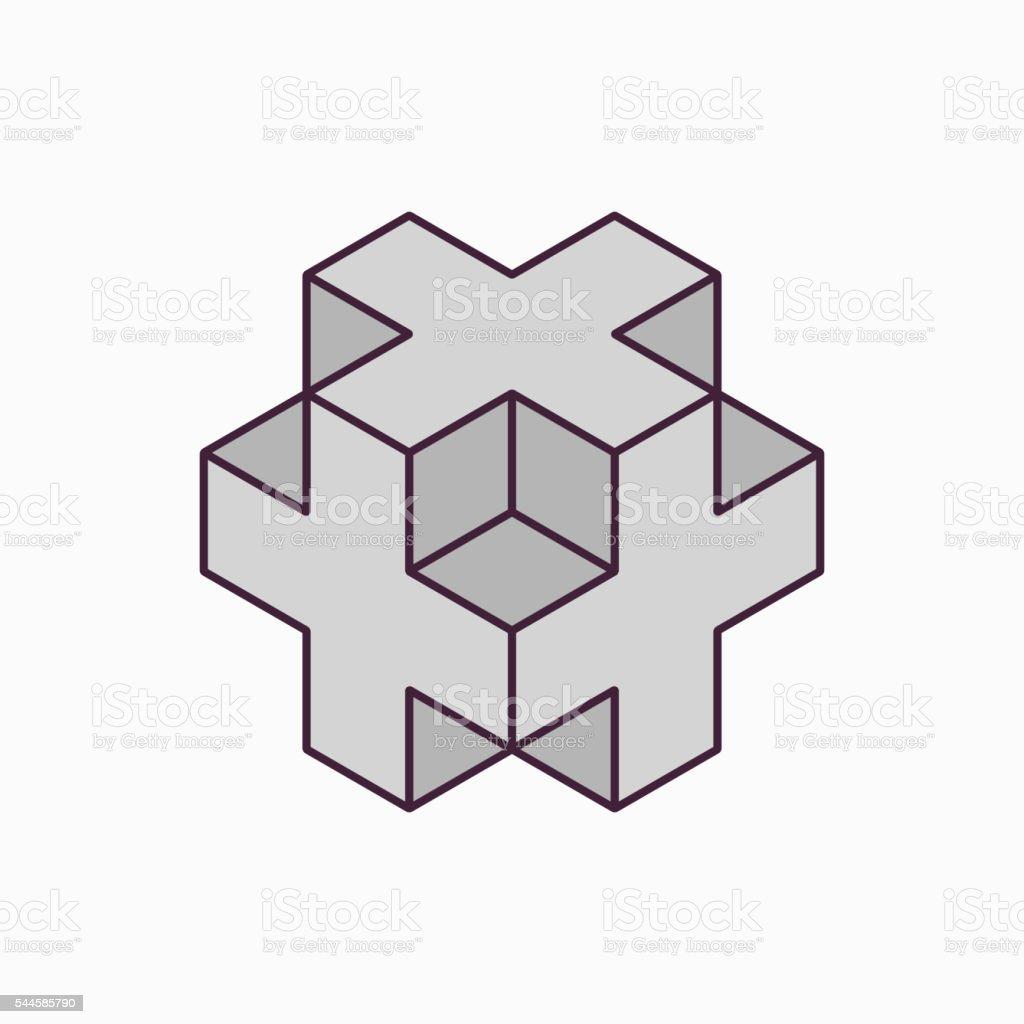 Vector 3D cube plus design vector art illustration