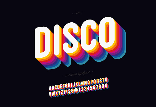 Vector 3d disco font bold style modern typography